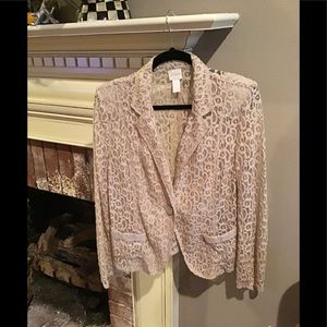 BEAUTIFUL Lace Jacket by CHICOS SZ Large light tan